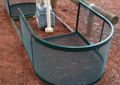 This security cage offers unique features and folds in half vertically to allow complete access to the equipment the cage is protecting