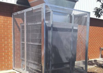 Cage Enclosure designed and fabricated to custom-specifications for a client's evaporative cooler